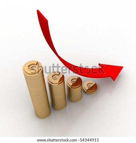 crash diagram of euro - stock photo
