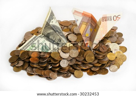 crash dollar  and euro plane in heap of coins - stock photo