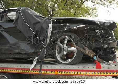 Crashed car - stock photo