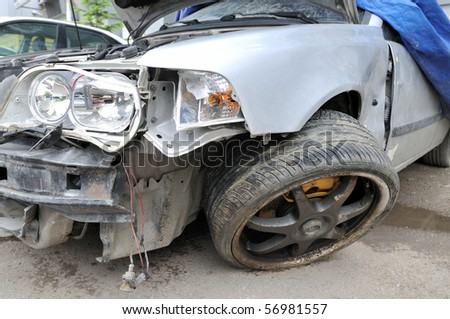 Crashed car - a series of crashed car images. - stock photo
