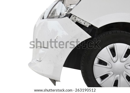 crashed car isolated on white - stock photo