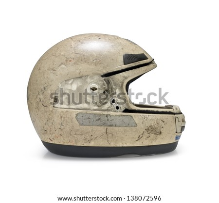 Crashed motorcycle helmet on white background. Clipping path - stock photo