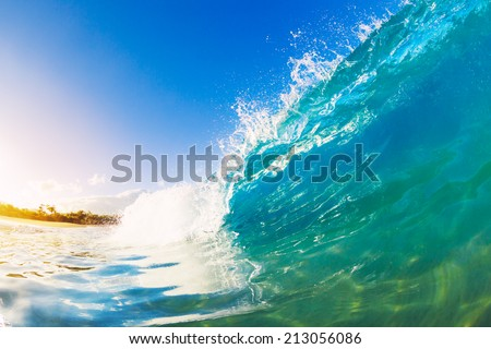 Crashing Blue Ocean Wave - stock photo