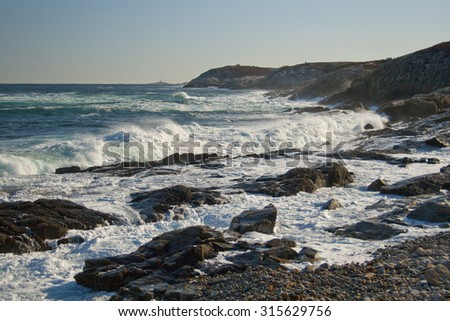 Crashing waves in Duncan's Cove, Nova Scotia. - stock photo