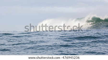 Crashing waves in the Atlantic Ocean off the coast of Kommetjie, South Africa at the world famous big wave surf spot, Sunset