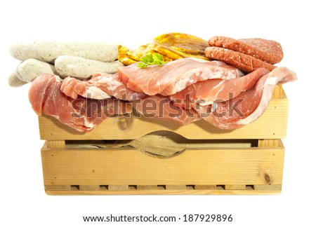 Crate with lots of meat isolated over white - stock photo