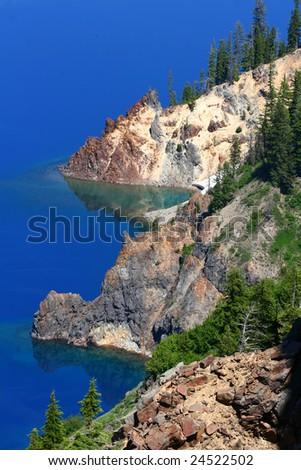 Crater Lake Shoreline - stock photo