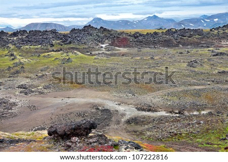 Crater of an extinct volcano Gorely, Far east, Russia, Kamchatka - stock photo