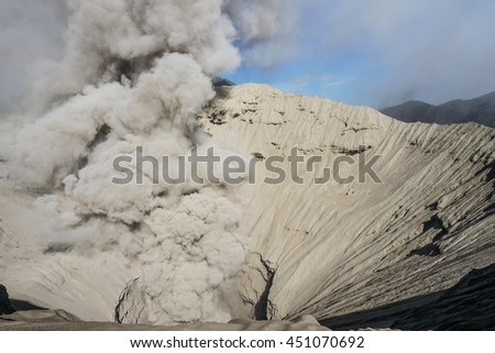 Crater of Bromo volcano in Bromo Tengger Semeru National Park, East Java, Indonesia - stock photo