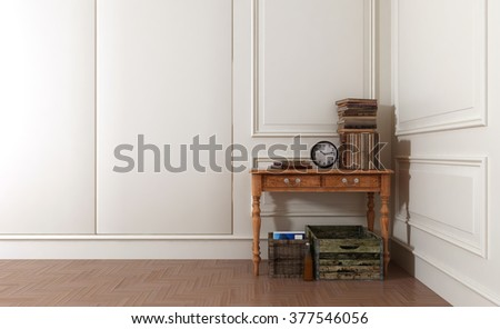 Crates and Baskets Underneath Old Wooden Table Topped with Antique Books and Clock in Spacious Modern Room with White Walls and Stylish Paneling. 3d Rendering. - stock photo