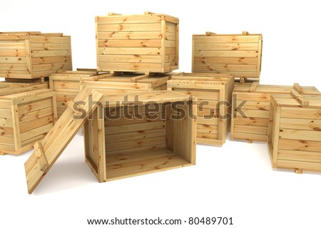 crates isolated on white - stock photo