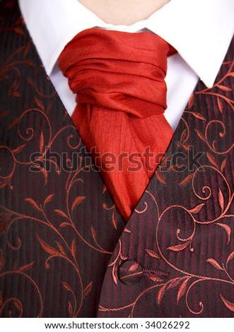 Cravat Ascot Tie on groom - stock photo