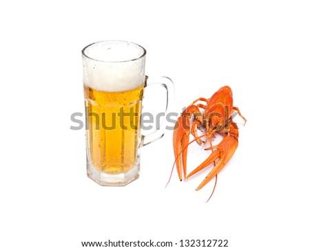 crawfish, beer - stock photo