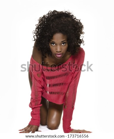 Crawling beautiful exotic young woman isolated against white background - stock photo