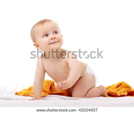 crawling little baby boy on white background - stock photo