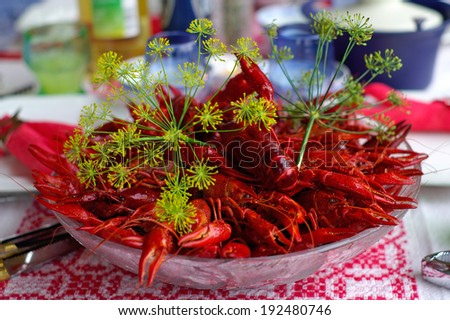 Crayfish in August is a typical Swedish tradition - stock photo