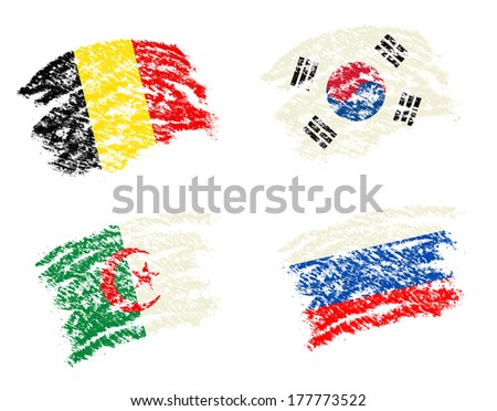 Crayon draw South Korea,Belgium,Algeria,Russia country flags for competition