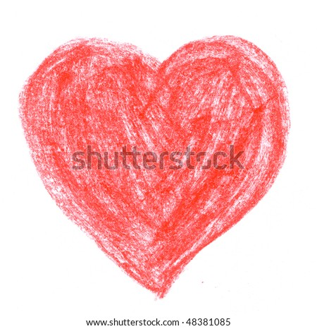 crayon sketch of red heart on white paper - stock photo