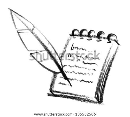 crayon-sketched illustration of a writing pad and nib - stock photo