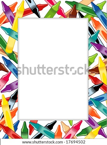 Crayons Frame Copy Space Posters Announcements Stock