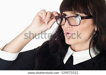 crazy beautiful woman wearting glasses