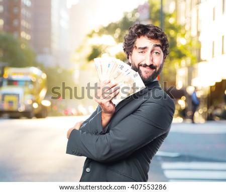 crazy businessman happy expression - stock photo