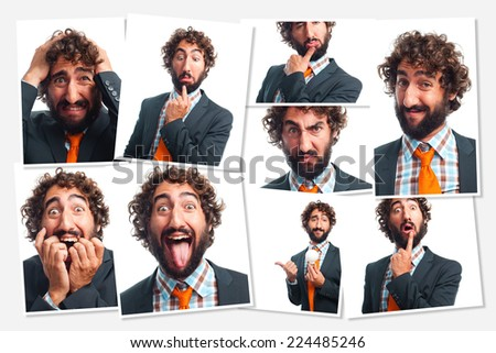 crazy businessman photos group - stock photo
