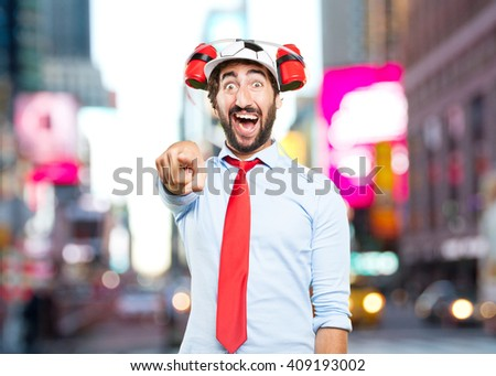 crazy businessman. surprised expression - stock photo