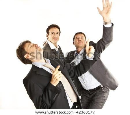 crazy businessmen dancing - stock photo