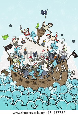 crazy busy pirate ship illustration - stock photo