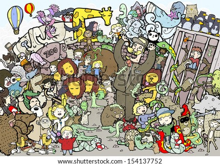 crazy busy zoo illustration - stock photo