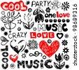 crazy childlike doodles, hand drawn design elements - stock vector