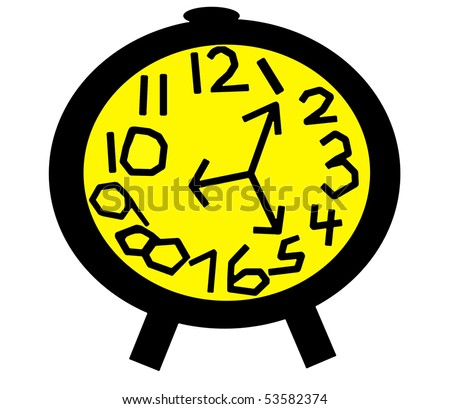Crazy Clock in Black and Yellow - stock photo