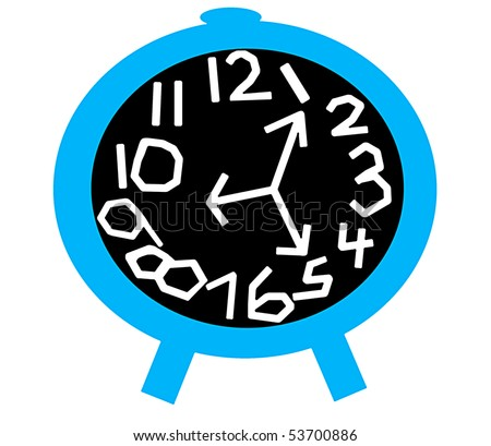 Crazy Clock in Blue and Black - stock photo