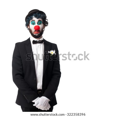crazy clown man crying - stock photo