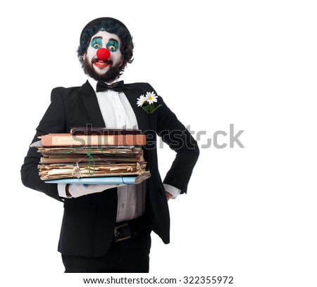crazy clown man with files - stock photo