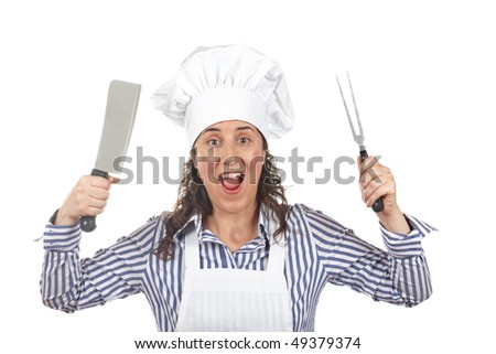 Crazy cook woman holding a meat cleaver - stock photo