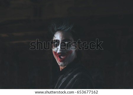 crazy creepy clown portrait