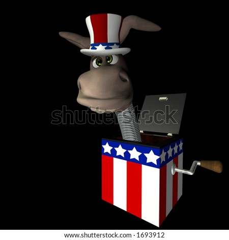 Crazy donkey head mounted on a spring. Democrat. Political humor. - stock photo