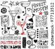 crazy drinking doodles, hand drawn design elements isolated on white background - stock vector