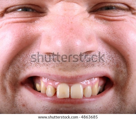 Crazy face of ugly man - stock photo
