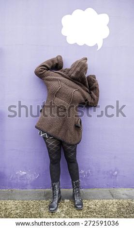 Crazy girl on urban wall, mental illness - stock photo