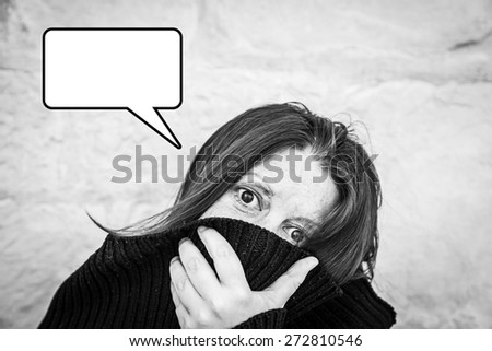 Crazy girl rare in urban street, mystery - stock photo