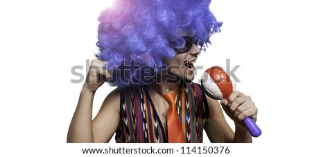crazy guy with sunglasses and blue wig on white background - stock photo