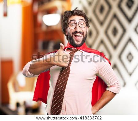 crazy hero happy expression - stock photo