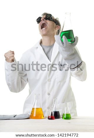 Crazy mad scientist letting out an evil laugh - stock photo