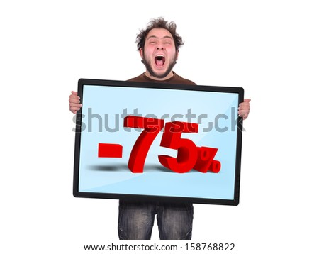 crazy man holding plasma panel with discount - stock photo