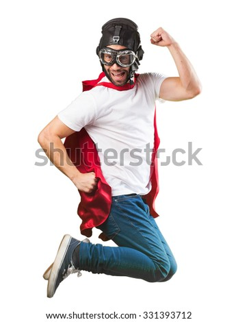 crazy man jumping - stock photo