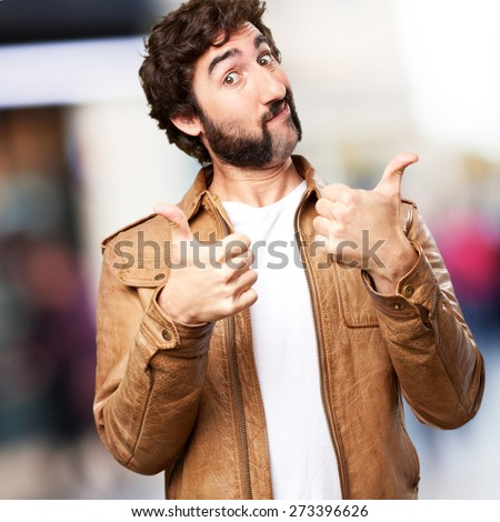 crazy man okay sign - stock photo