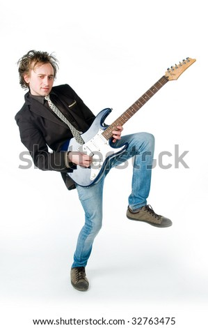 Crazy man playing electro guitar, isolated on white background - stock photo